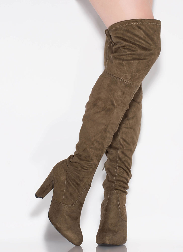 All Legs Over-The-Knee Chunky Boots OLIVE