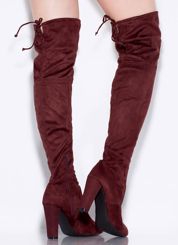 All Legs Over-The-Knee Chunky Boots REDBROWN