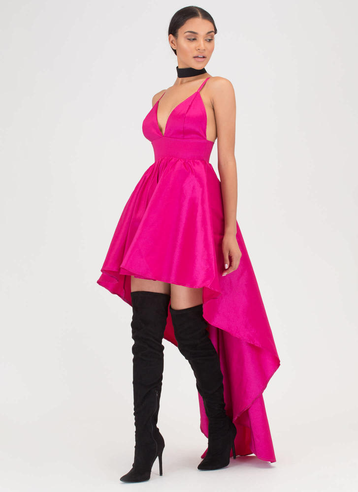 Under The Moonlight High-Low Gown FUCHSIA