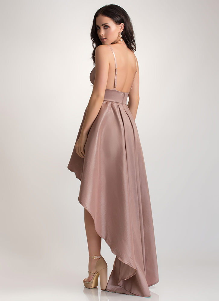 Under The Moonlight High-Low Gown TAUPE