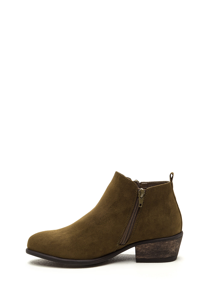 My Girl Zippered Faux Suede Booties OLIVE