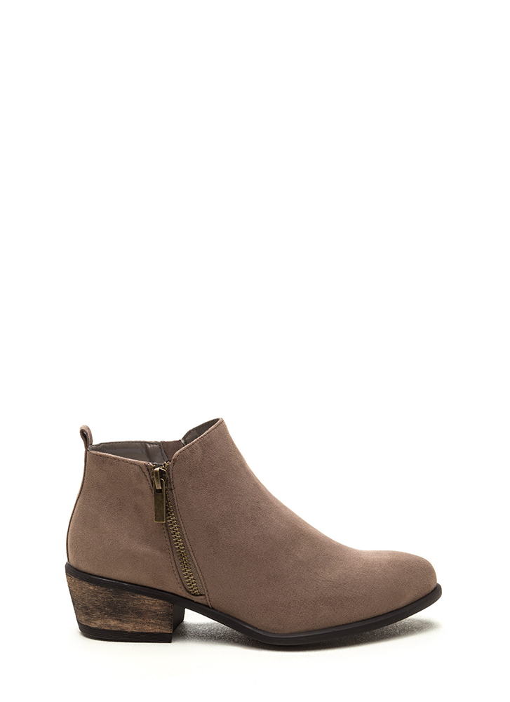 My Girl Zippered Faux Suede Booties TAUPE