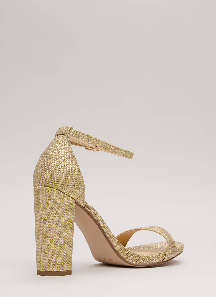 Evening To Remember Glitter Chunky Heels LTGOLD