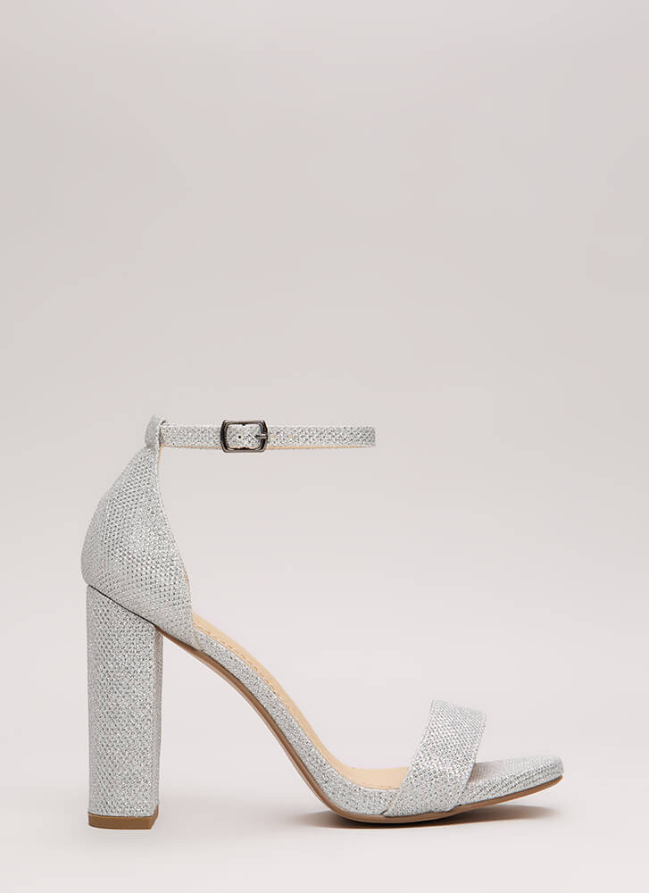 Evening To Remember Glitter Chunky Heels SILVER