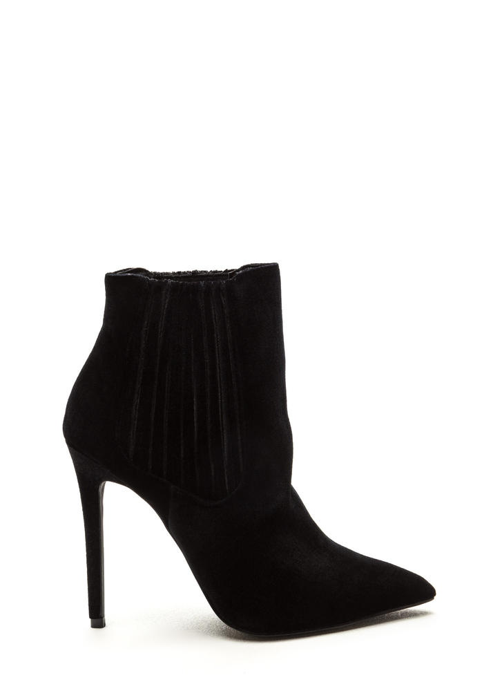 Sleek Attack Pointy Velvet Booties BLACK