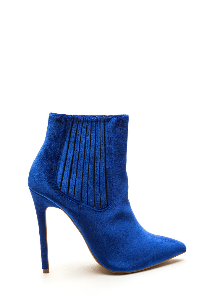 Sleek Attack Pointy Velvet Booties BLUE