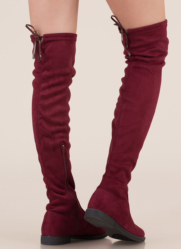 Heart String Thigh-High Drawstring Boots MAROON