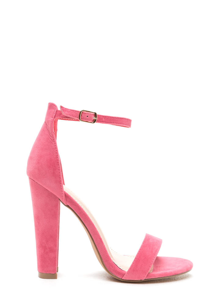 Simple Statement Chunky Velvet Heels CORAL