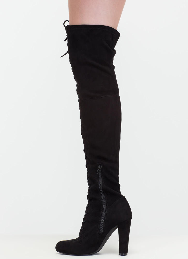 On Corset Lace-Up Over-The-Knee Boots BLACK