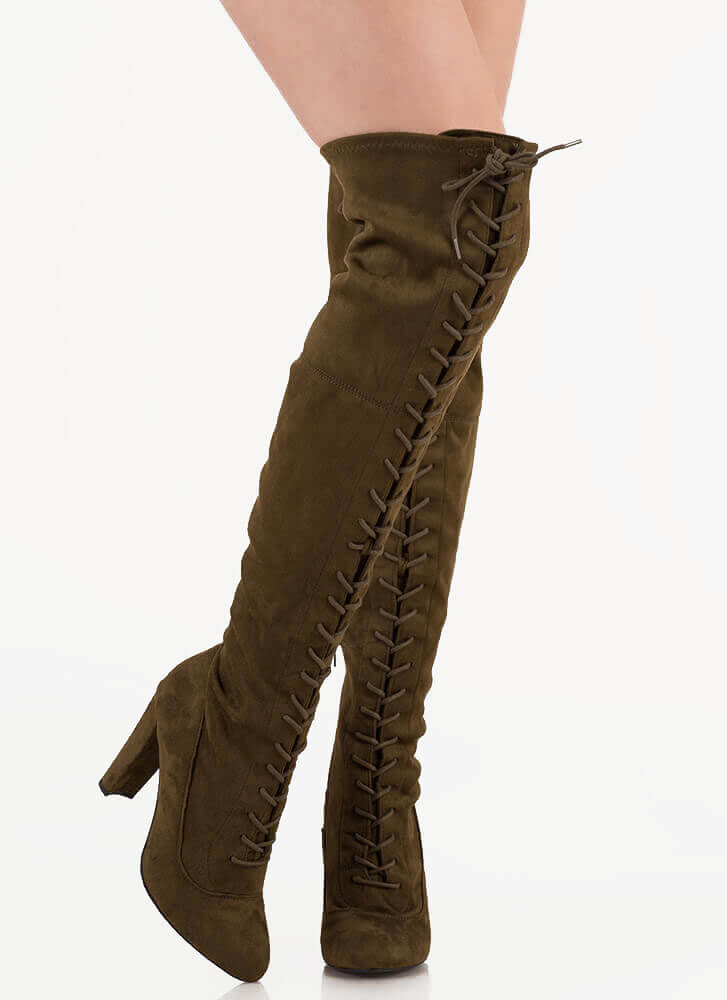 On Corset Lace-Up Over-The-Knee Boots OLIVE
