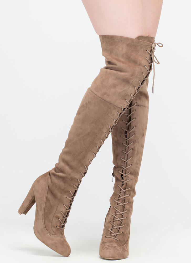On Corset Lace-Up Over-The-Knee Boots TAUPE