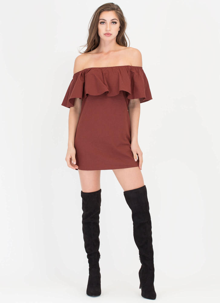 Flare-y Tale Ending Woven Shift Dress WINE