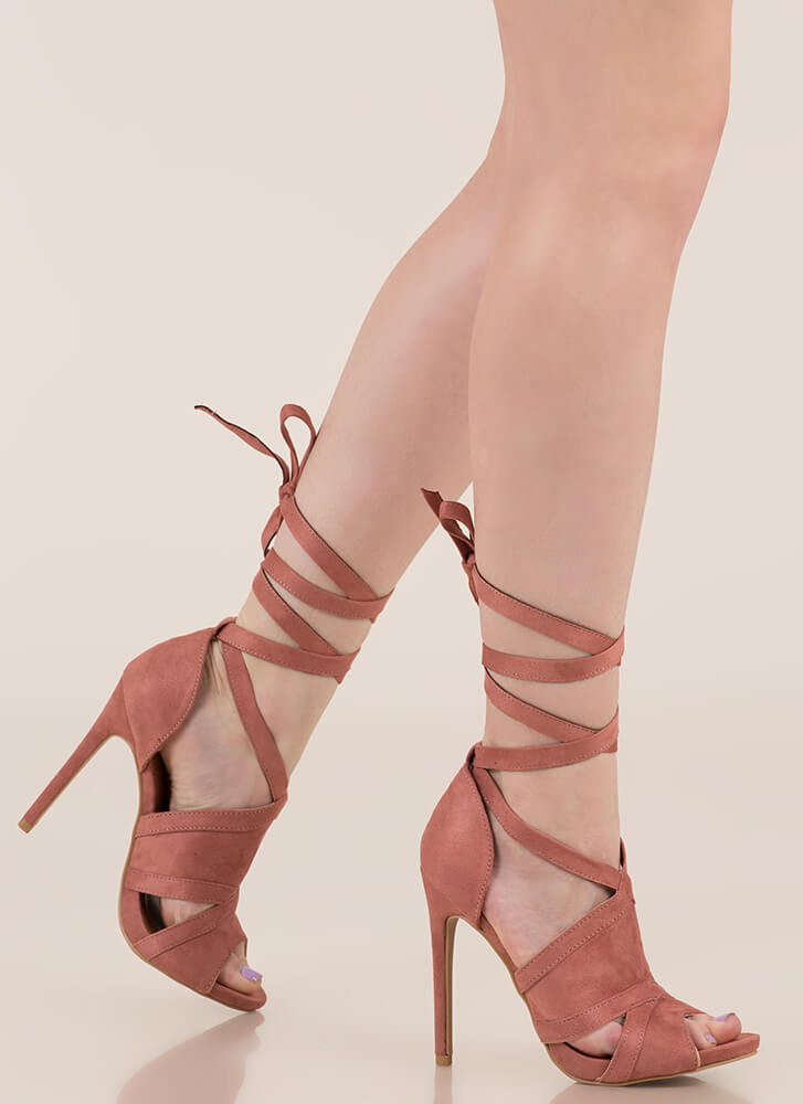 Rip Tied Faux Suede Tie-Up Heels BLUSH (Final Sale)
