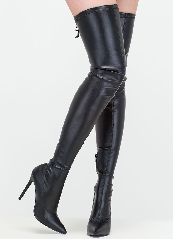 Crush Hard Faux Leather Thigh-High Boots BLACK