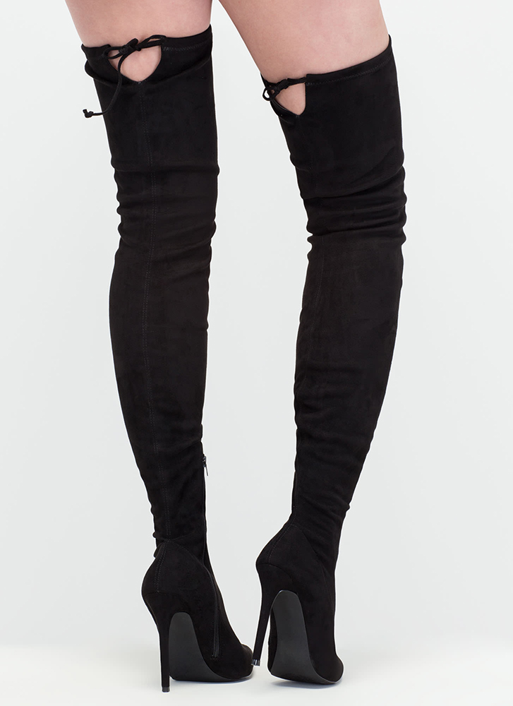 Crush Hard Faux Suede Thigh-High Boots BLACK