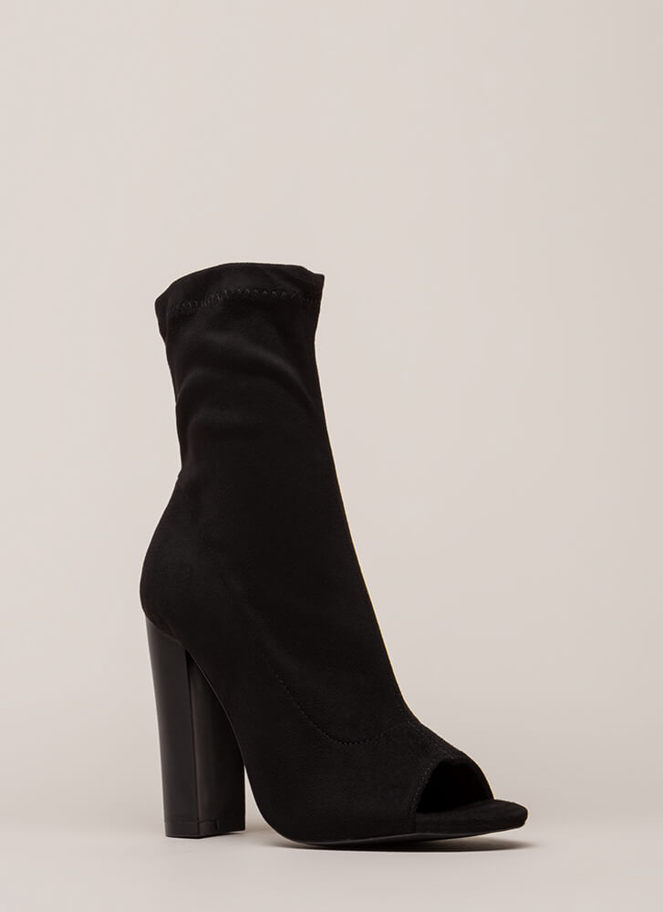 Let It Be Chunky Peep-Toe Booties BLACK