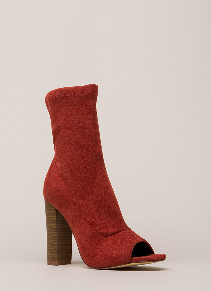 Let It Be Chunky Peep-Toe Booties CINNAMON