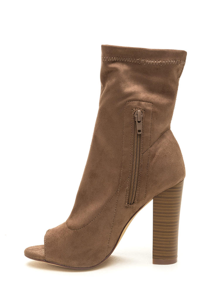 Let It Be Chunky Peep-Toe Booties TAUPE