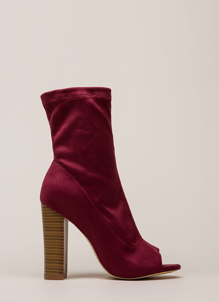 Let It Be Chunky Peep-Toe Booties WINE