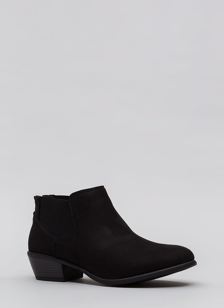 Down The Stretch Faux Suede Booties BLACK (Final Sale)