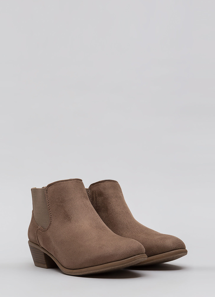 Down The Stretch Faux Suede Booties TAUPE (Final Sale)