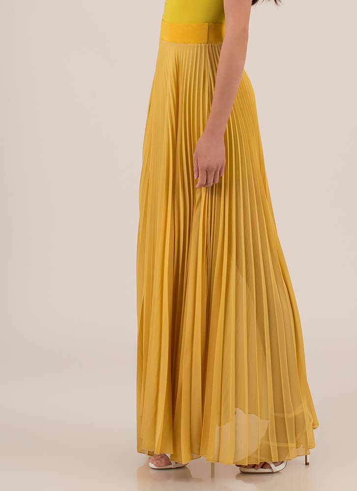 Act Accordionly Pleated Maxi Skirt MUSTARD
