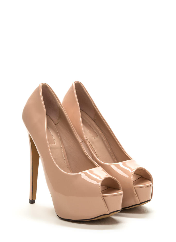 High Voltage Peep-Toe Platform Pumps NUDE