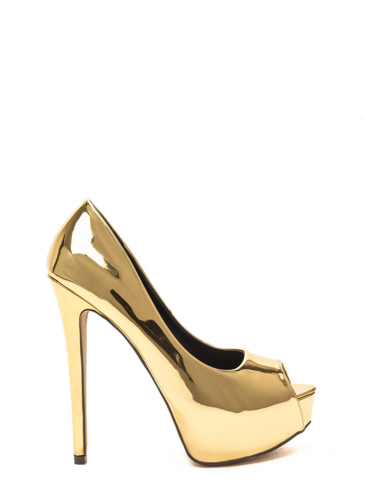 High Voltage Metallic Platform Pumps SILVER GOLD - GoJane.com