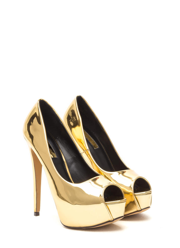 High Voltage Metallic Platform Pumps GOLD