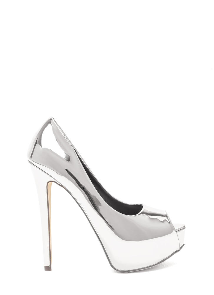 High Voltage Metallic Platform Pumps SILVER