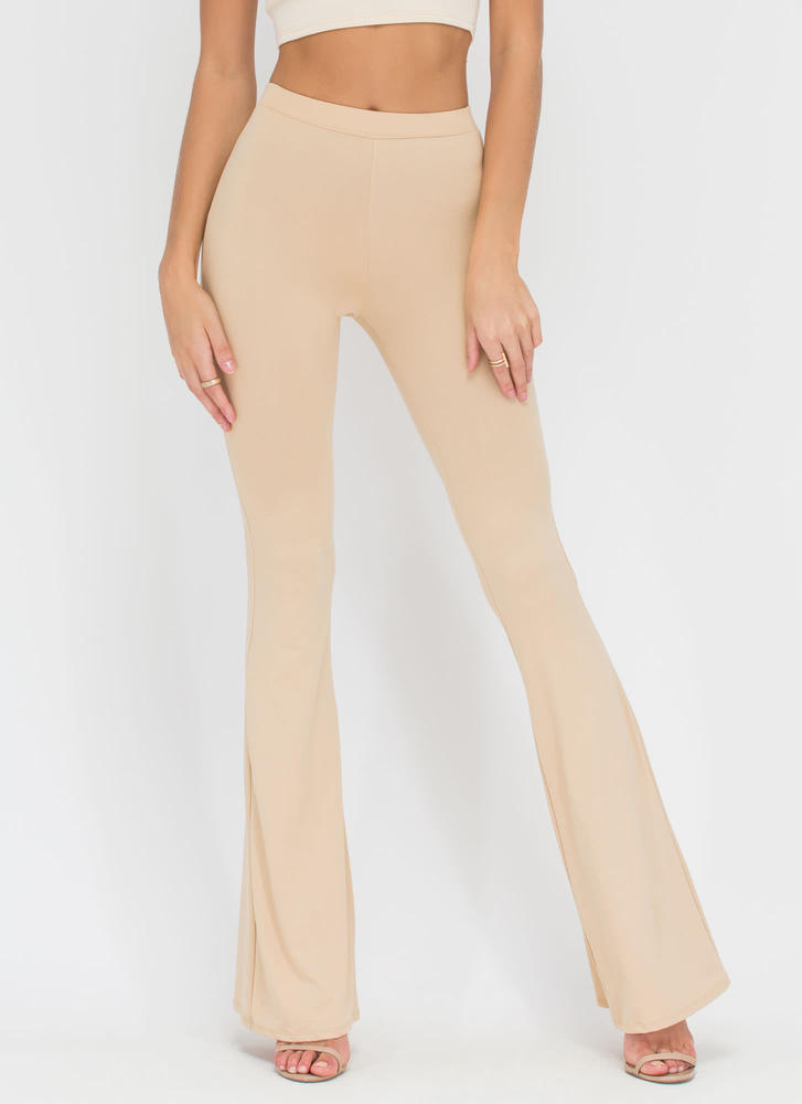 Dare To Be Flared Knit Pants KHAKI