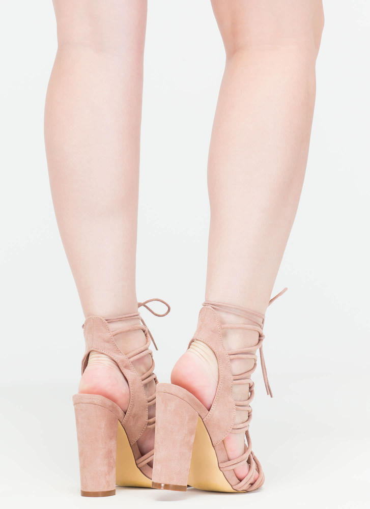 Finding Loopholes Lace-Up Chunky Heels MAUVE (You Saved $23)
