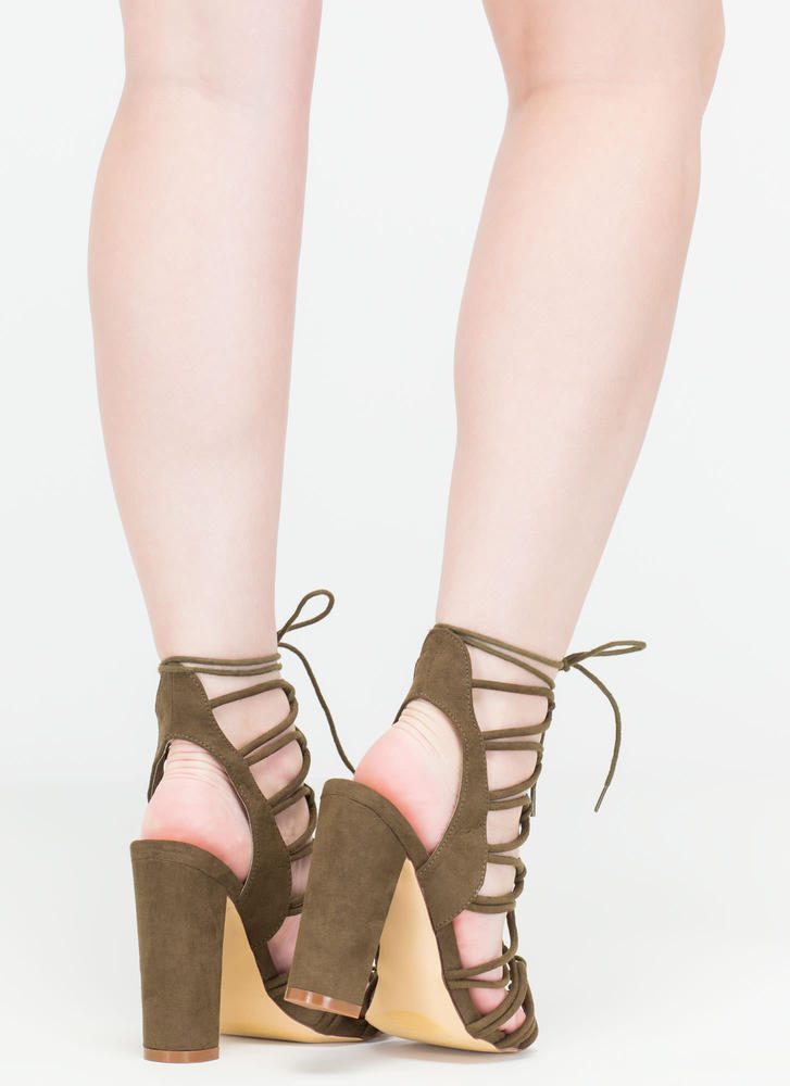 Finding Loopholes Lace-Up Chunky Heels OLIVE (You Saved $23)