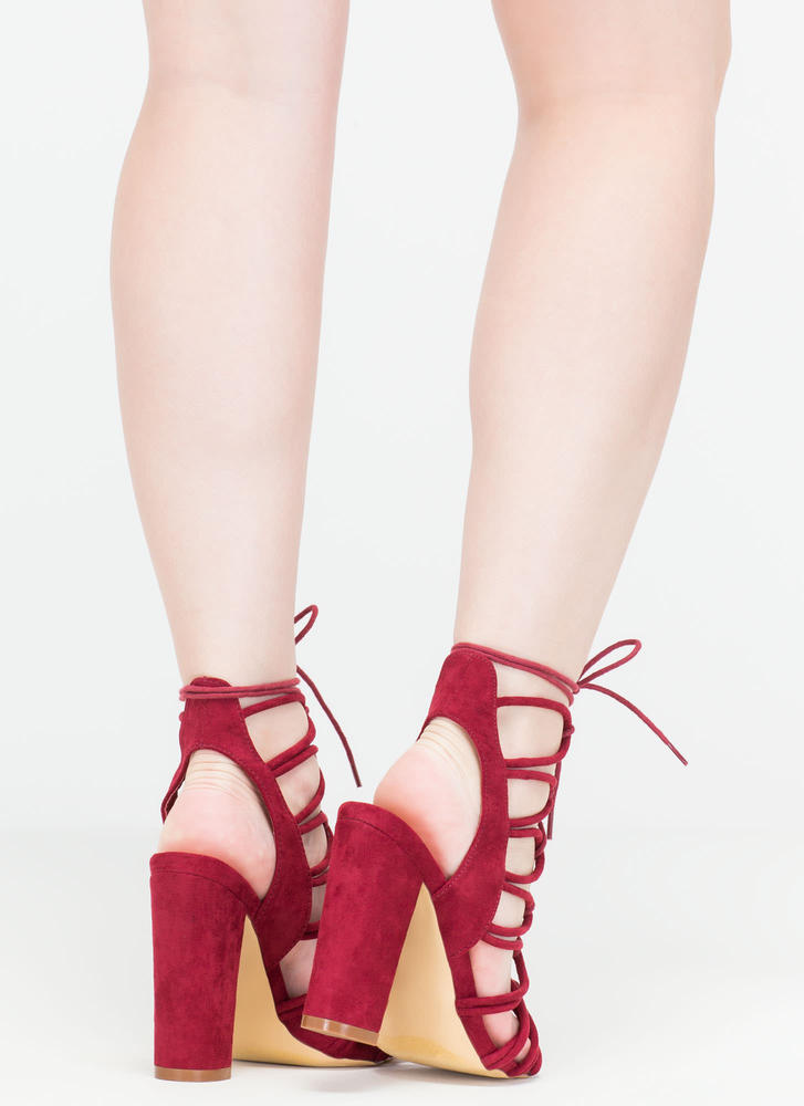 Finding Loopholes Lace-Up Chunky Heels WINE (You Saved $23)