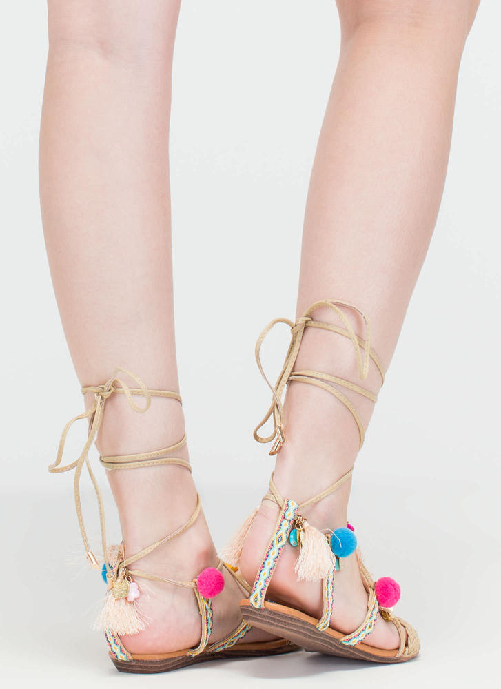 Just For Decoration Lace-Up Sandals NUDE