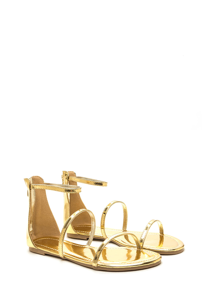 Triple Whammy Strappy Metallic Sandals GOLD