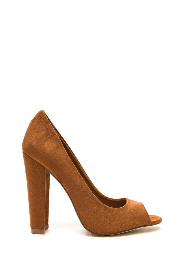 Chic Date Chunky Peep-Toe Heels MOCHA (Final Sale)