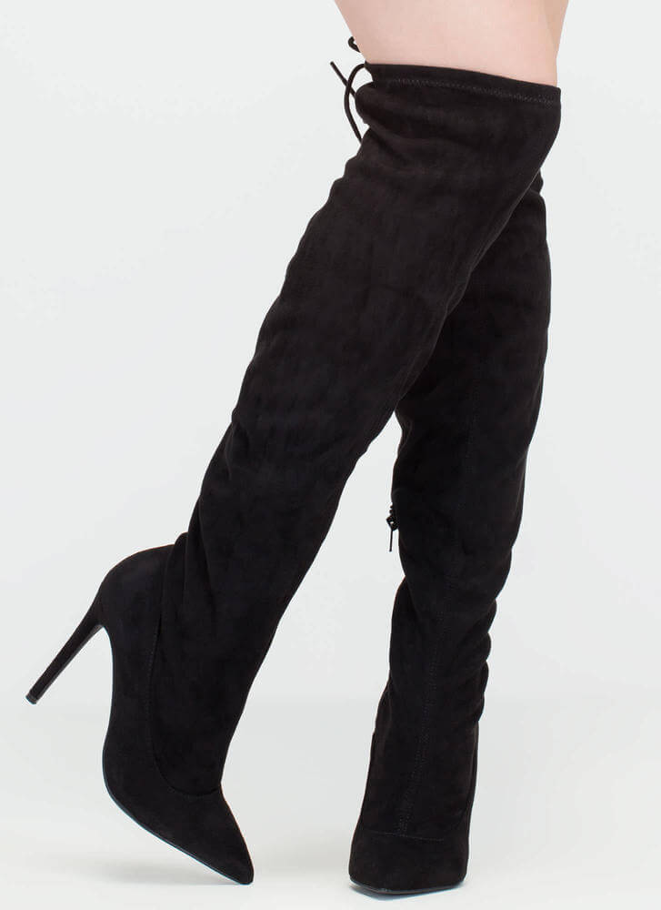 Pumped Faux Suede Thigh-High Boots BLACK