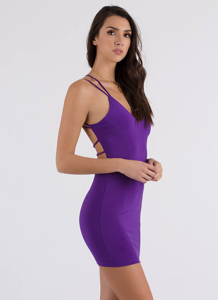 Curve Warning Strappy Minidress PURPLE