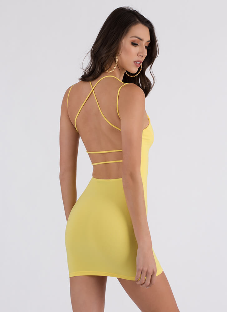 Curve Warning Strappy Minidress YELLOW