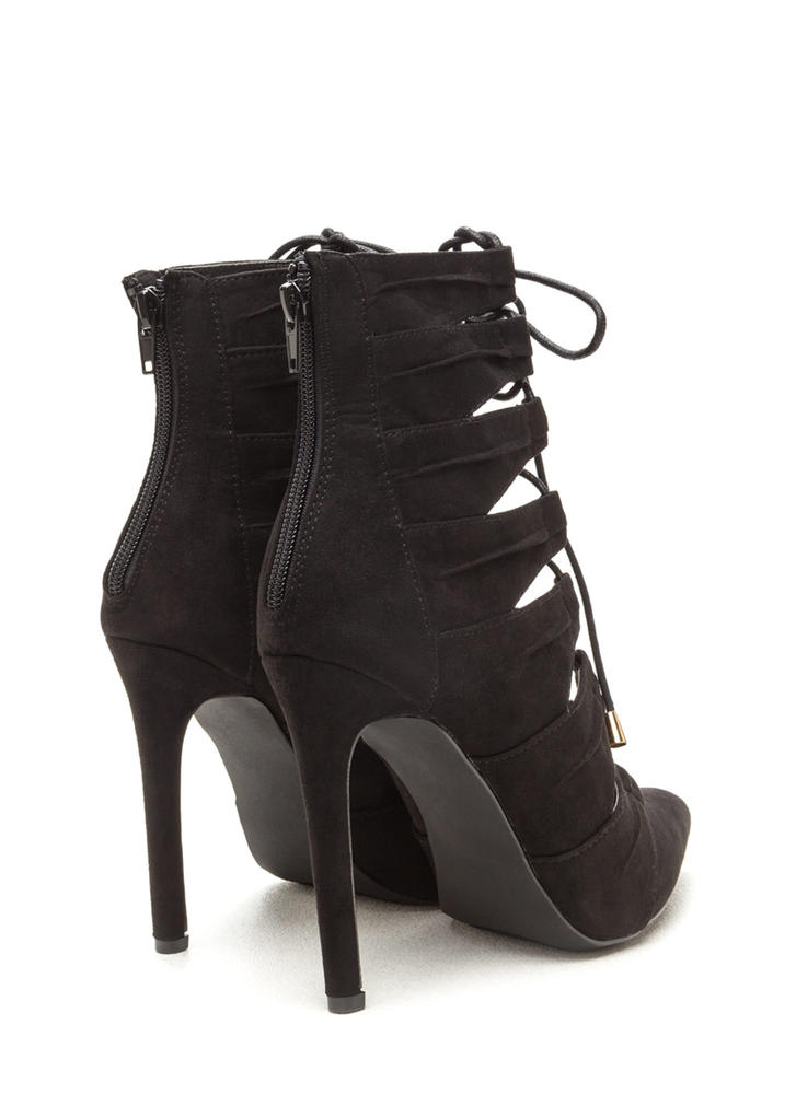 Pretty Pleats Faux Suede Lace-Up Booties BLACK