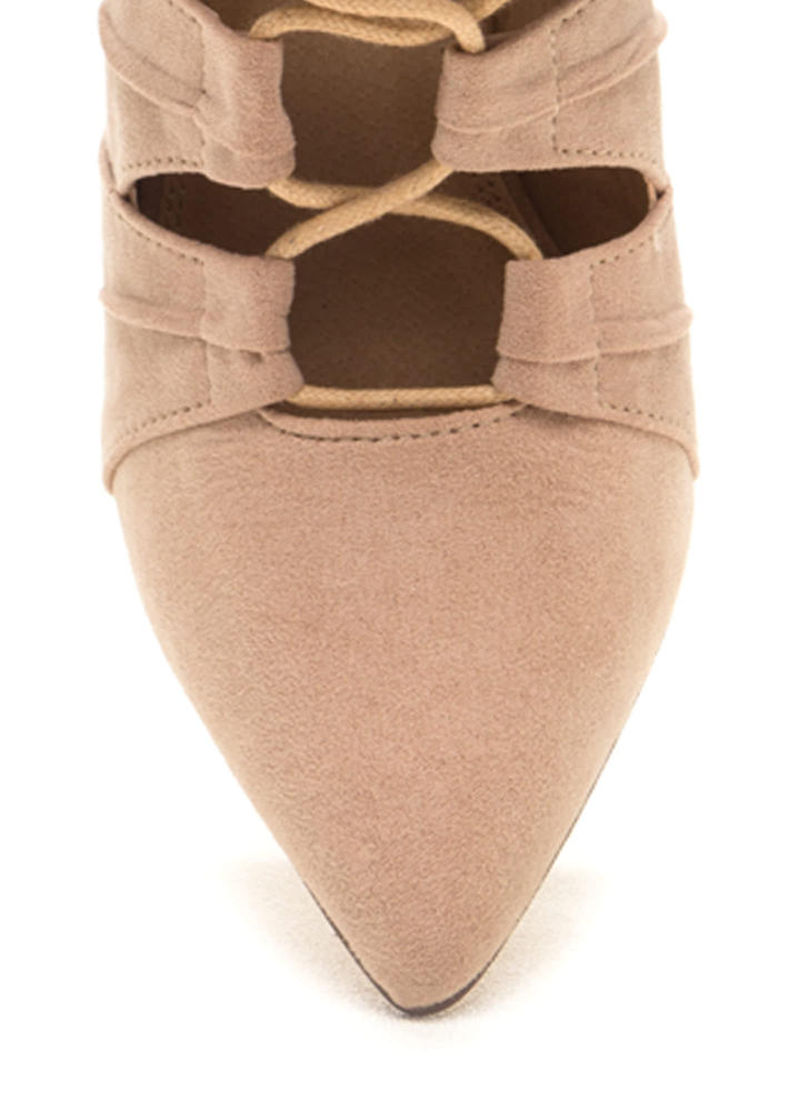 Pretty Pleats Faux Suede Lace-Up Booties NUDE