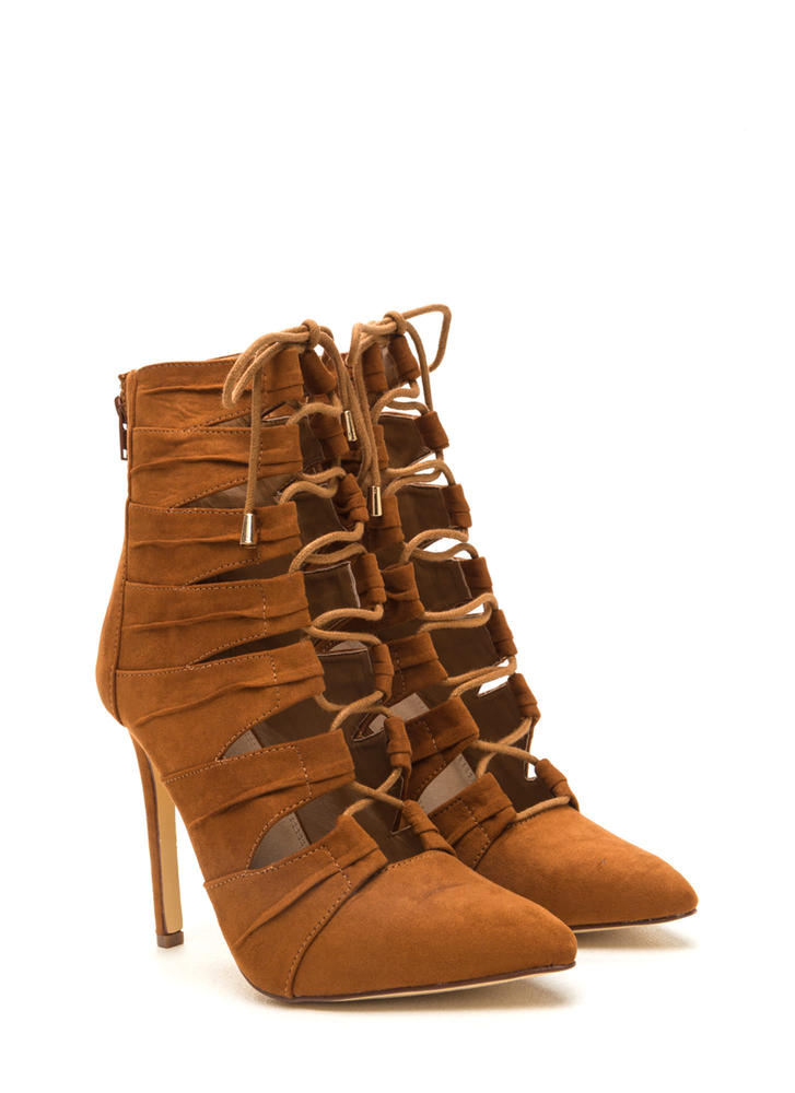 Pretty Pleats Faux Suede Lace-Up Booties TAN