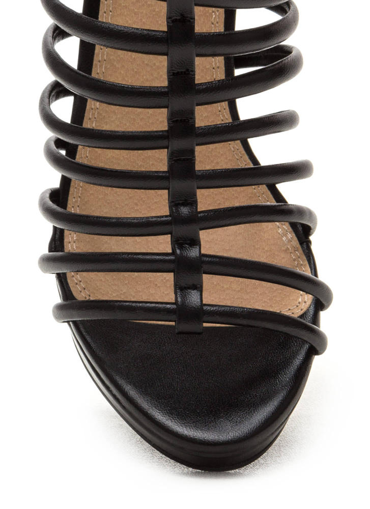 Irresistible Caged Faux Leather Heels BLACK