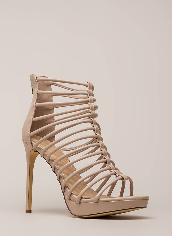 Irresistible Caged Faux Leather Heels NUDE (Final Sale)
