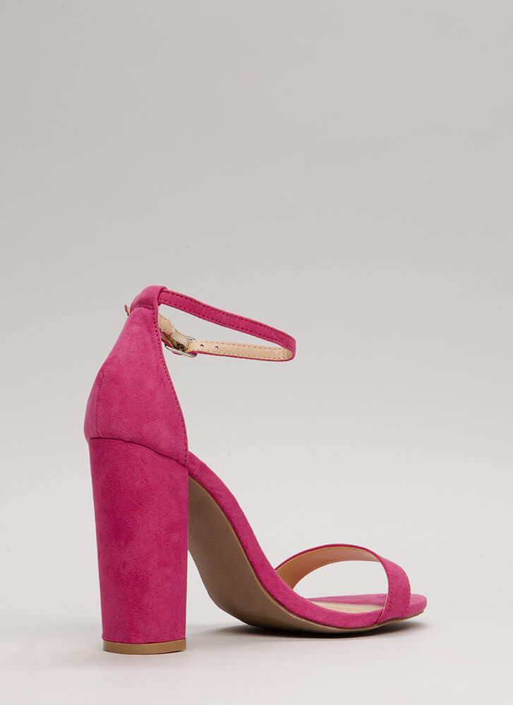 Pure 'N Simple Faux Suede Chunky Heels FUCHSIA