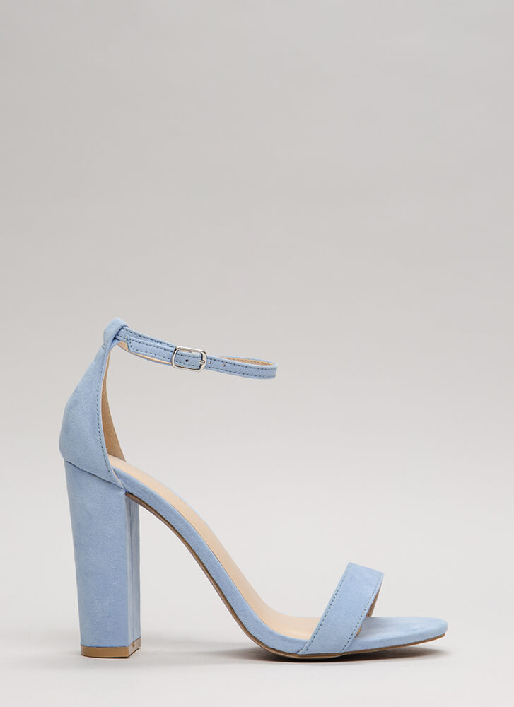 Pure 'N Simple Faux Suede Chunky Heels LTBLUE
