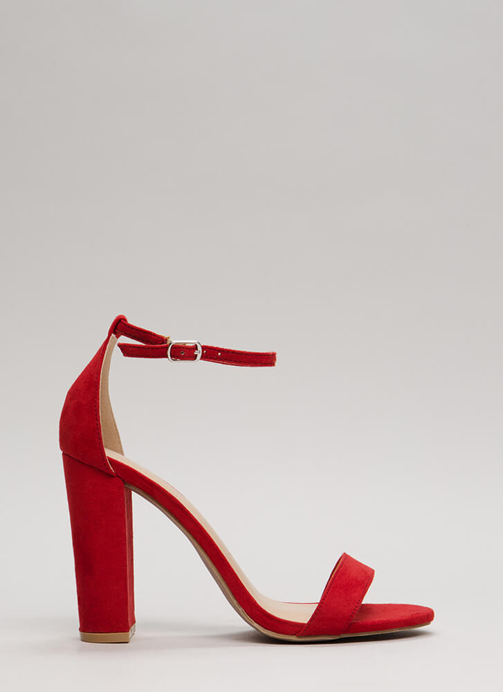 Pure 'N Simple Faux Suede Chunky Heels RED