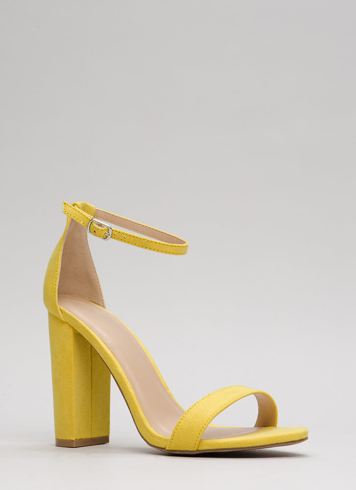 Pure 'N Simple Faux Suede Chunky Heels RED FUCHSIA YELLOW - GoJane.com