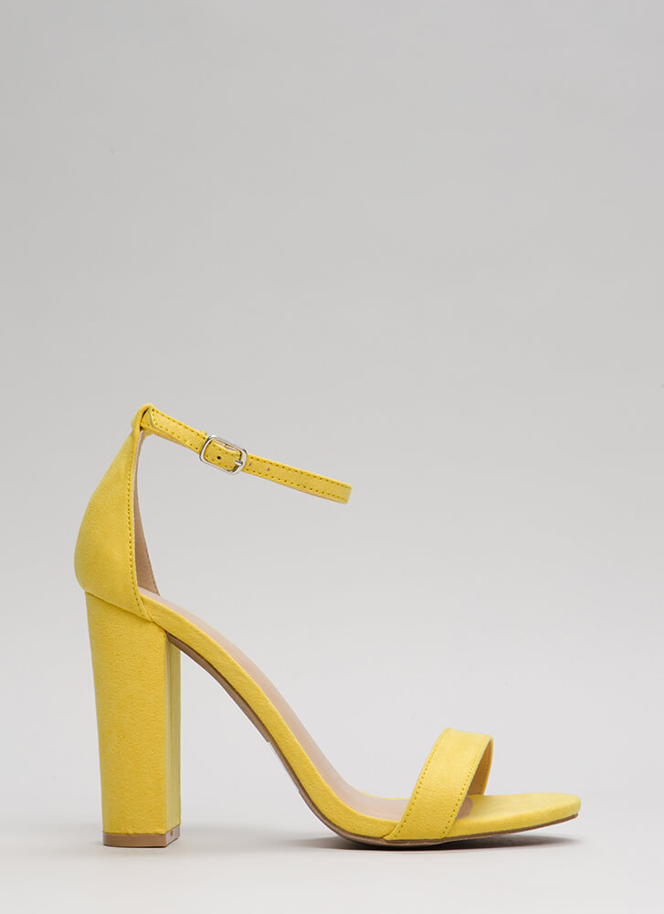Pure 'N Simple Faux Suede Chunky Heels YELLOW